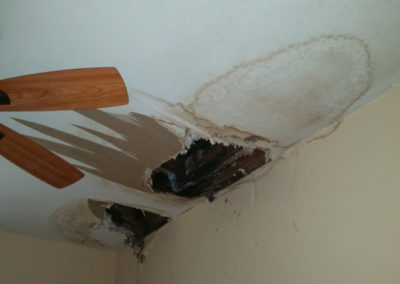 7 roof leak causing damage to ceiling