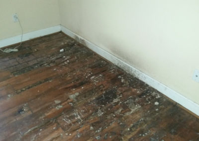 8 roof leak- water caused heavy damage to wood flooring